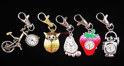 New 10pcs bicycle owl butterfly Mixed Key Ring boys girls watches quartz USM3