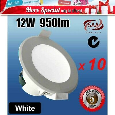 10X 12W Ip44 Non-Dimmable 92Mm Led Downlight Kit Daylight White