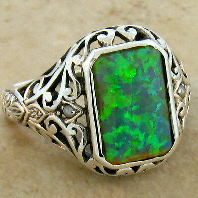 Green Lab Opal Antique Victorian Design .925 Sterling Silver Ring Size 10,  #279