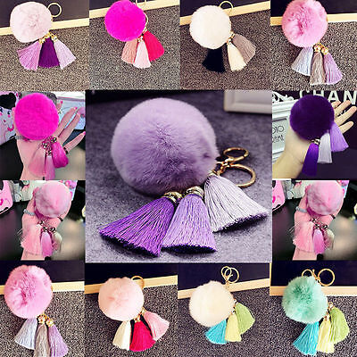 Keyring Fluffy Rabbit Fur Ball HandBag Pendant Charm Ball Tassel Pompom Keychain