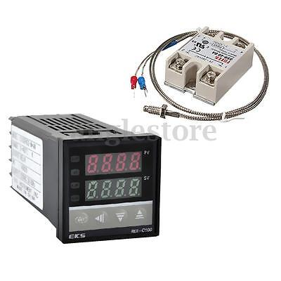 Digital 220V PID REX-C100 Temperature Controller w/ K Thermocouple + max.40A SSR
