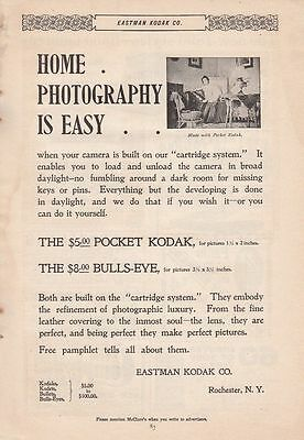 1896 Eastman Kodak Rochester NY Ad: Home Photography is Easy Cartridge System
