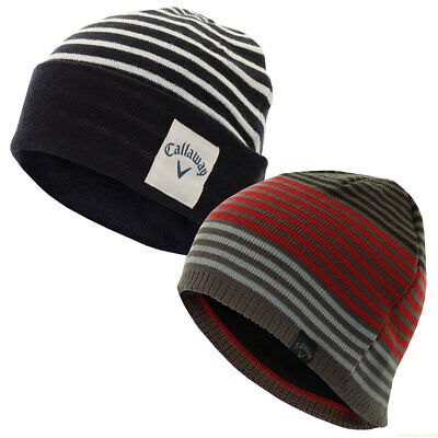 Callaway Golf Mens Stripe Knit Beanie Winter Wooly Hat