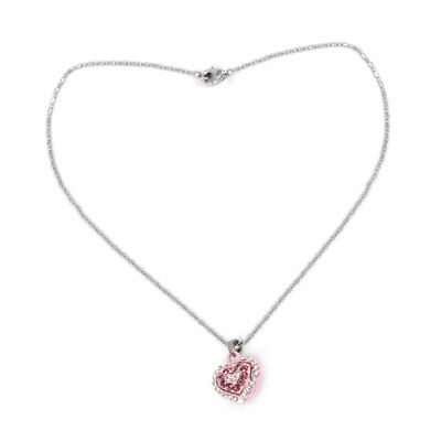 Heart Shape Pendant Lobster Clasp Chain Sweater Necklace Silver Tone Pink