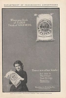1904 Washburn Crosby Co Minneapolis MN Ad: Girl Holding Bag of Gold Medal Flour