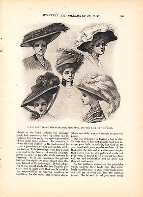 1908 Women's Fashion Article: Symmetry and Character in Hats Millinery