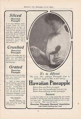 1909 Hawaiian Pineapple Growers Association Ad: Sliced Crushed Grated Pineapple