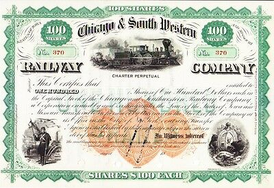 Chicago & South Western Railway MO 18-- revenue stamp Stock Certificate unissued