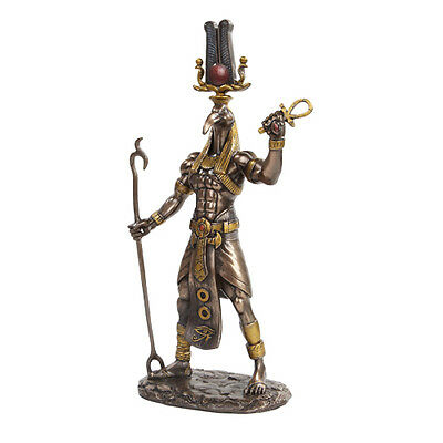 Bronze Color Egyptian Thoth holding Rod & Ankh Ibis Head Deity Statue  Figurine