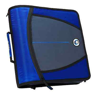 New Case-it XL 3 Ring 3 INCH Zipper Binder with 5-Tab File Folder, BLUE