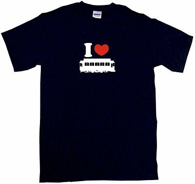 I Heart Love Trolley Street Car Mens Tee Shirt Pick Size Color Small-6XL