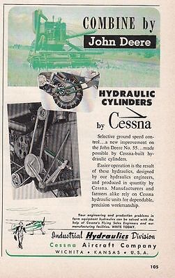 1952 Cessna Aircraft Industrial Hydraulics Division Ad: John Deere Combine