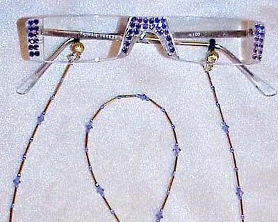 !! TANZANITE  CRYSTAL made with Swarovski  READING GLASSES ONLY   1.00 gold !!