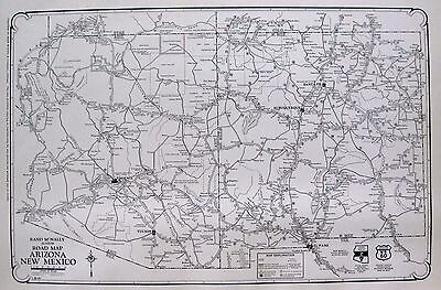 1927 RARE Antique ARIZONA Map NEW MEXICO Map Road Map Gallery Wall Art 2860