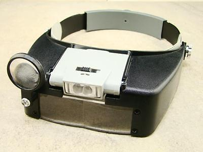 Illuminated Dual Lens Flip-In Head Magnifier Jeweler - Prospecting - Gold - Rock