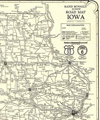 1927 RARE Antique IOWA Map Auto Trails Vintage Iowa Road Map Poster Size  2867