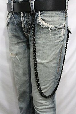 Men Black Metal Long Wallet Chains KeyChain Thick Link Chunky Punk Biker Jeans