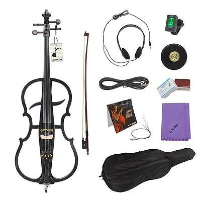 ammoon 4/4 Electric Cello Violoncello Ebony with Tuner Headphone Bag Black S9Q7
