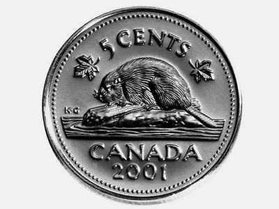Canada 2001 5 Cent Coins 2 Varieties P and No P.