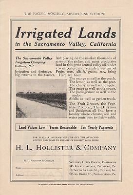 1911 H L Hollister & Co Willows CA Ad: Irrigated Lands in Sacramento Valley CA