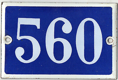 Old blue French house number 560 door gate plate plaque enamel metal sign steel
