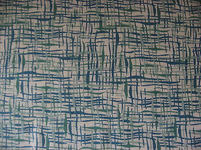 Vintage Marcus Brothers 100% cotton Fabric Greens on White Background
