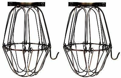 Vintage Style Hanging Pendant Light Fixture Metal Wire Cage, Antique Brass-2 pc