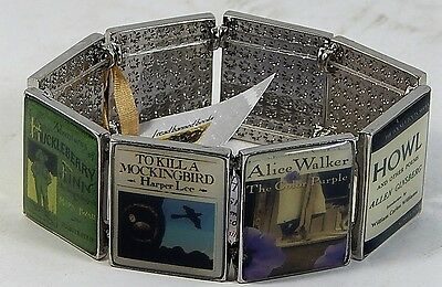I Read Banned Books Literary Bracelet Slide Show 8 Panels by Carolyn Forsman NEW