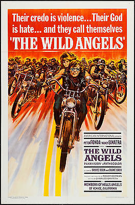 THE WILD ANGELS/HELL'S ANGELS original 1966 one sheet movie poster PETER FONDA