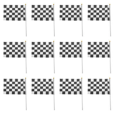 12pcs Black & White Chequered Hand Waving Flag F1 Formula One Racing Banners