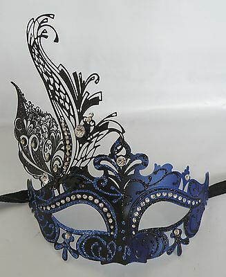Black & Blue Masquerade Mask With Metal Decoration - NEW - Express Post Option
