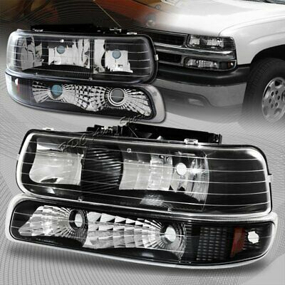 For 2000-2006 Chevy Suburban 1500 2500 Black Housing Headlights + Bumper Lamps