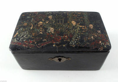 Japanese Antique Wooden Box Lacquered Folk Scene on Cover