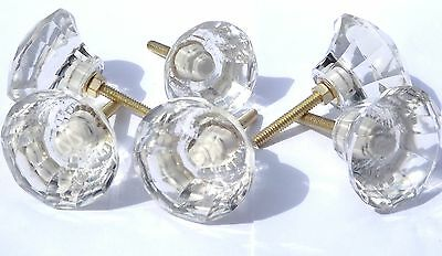 glass / Cut glass large clear crystal drawer cupboard pulls door knobs 50mm