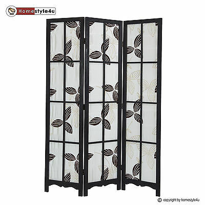 3 part Paravent black fabric screen wood room divider 3 panel partition screens