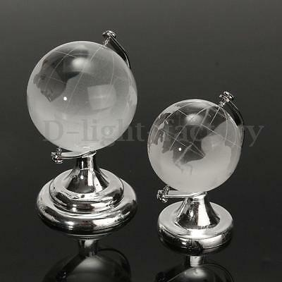 Crystal Glass Frosted World Globe Paperweight & Stand Home Desk Decor 4/ 5cm Dia