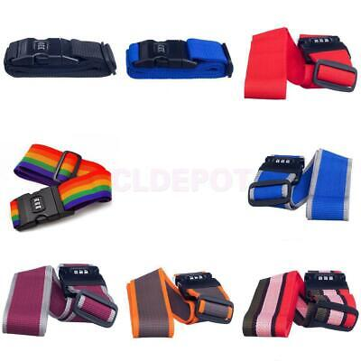 Colorful 2 M Adjustable Luggage Strap Travel Tie Down Belt w/ Combination Lock