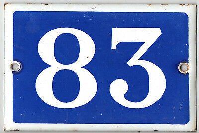 Old blue French house number 83 door gate plate plaque enamel metal sign steel