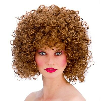 80s Brown Perm Afro Wig Adults Disco Fever Fancy Dress Costume Accessory