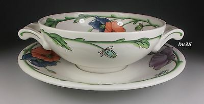 """VILLEROY & BOCH AMAPOLA CREAM SOUP BOWL WITH UNDERPLATE  2 1/8"""" x 5 1/4"""""""