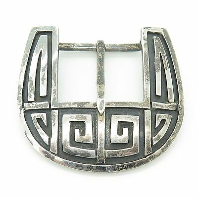 Mexico 925 Sterling Silver Ethnic Tribal Design Large Carved Belt Buckle 46.6g