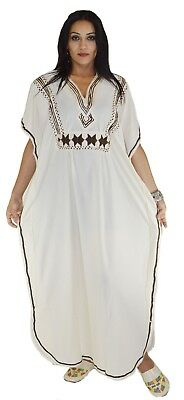Moroccan Caftan kaftan Handmade Abaya Swim Cover lounge wear maxi Dress Beige