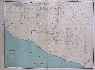 RARE MEXICO Map Guerrero & Michoacan w RAILROADS 1927 RARE SIZE Map #2876
