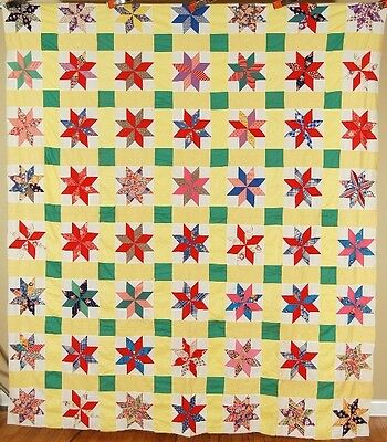 LARGE, WELL PIECED Vintage 30's Stars Patchwork Antique Quilt Top ~NICE YELLOW!