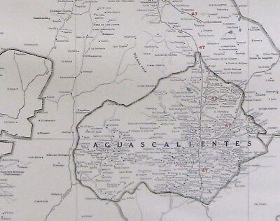 RARE MEXICO Map Zacatecas & Aguascalientes w RAILROADS 1927 RARE SIZE Map #2881