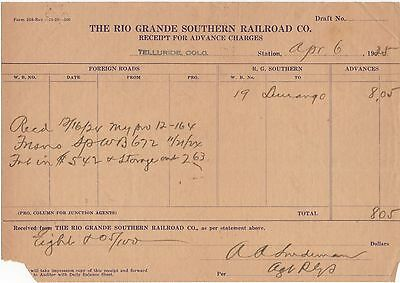 1928 Rio Grande Southern Railroad, Receipt for Advance Charges, Telluride RP24
