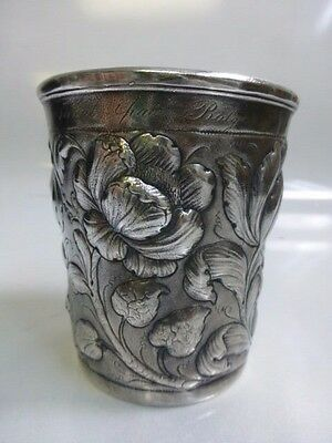 early 18th / 19th century Silver Beaker  Great floral Repousse work