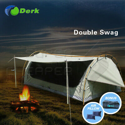 Derk Freestanding Double Swag Camping Canvas Tent Deluxe Aluminium Pole