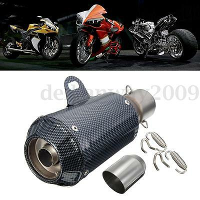 38-51mm Motorcycle Carbon Fiber Exhaust Muffler Pipe Stainless Steel Silencer