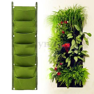 7 Pockets Wall Garden Vertical Hanging Flower Plant Herbs Bag In/Outdoor Planter